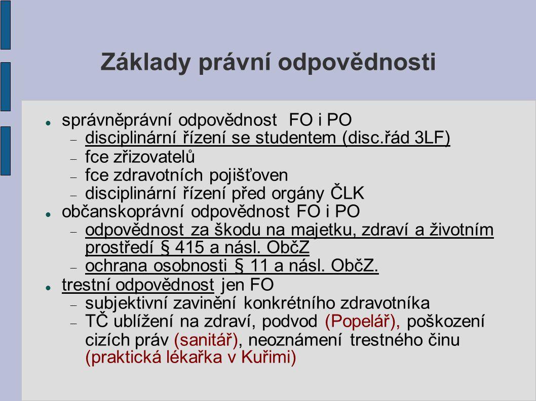 Základy právní odpovědnosti správněprávní odpovědnost FO i PO  disciplinární řízení se studentem (disc.řád 3LF)  fce zřizovatelů  fce zdravotních