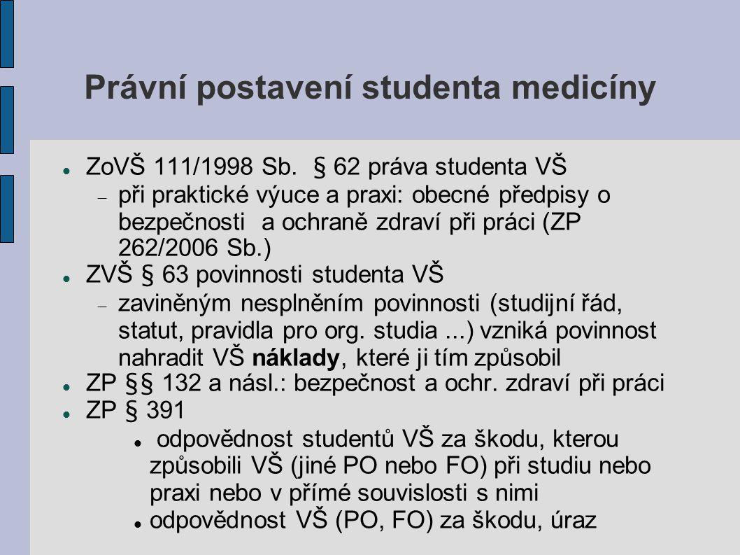 Právní postavení studenta medicíny ZoVŠ 111/1998 Sb. § 62 práva studenta VŠ  při praktické výuce a praxi: obecné předpisy o bezpečnosti a ochraně zdr