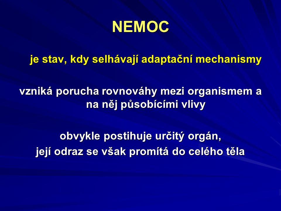 NEMOC je stav, kdy selhávají adaptační mechanismy vzniká porucha rovnováhy mezi organismem a na něj působícími vlivy obvykle postihuje určitý orgán, j