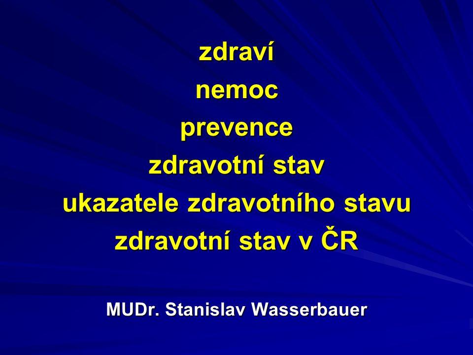 zdravínemocprevence zdravotní stav ukazatele zdravotního stavu zdravotní stav v ČR MUDr. Stanislav Wasserbauer