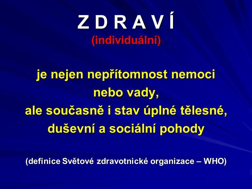 Z D R A V Í (individuální) je nejen nepřítomnost nemoci nebo vady, ale současně i stav úplné tělesné, duševní a sociální pohody (definice Světové zdra