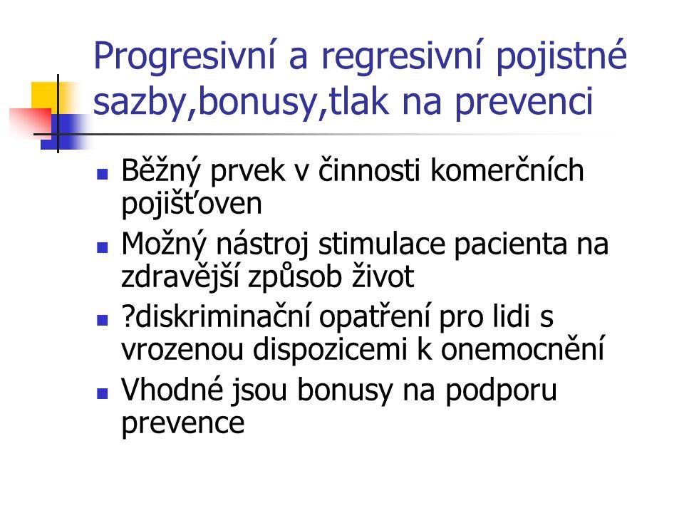 Progresivní a regresivní pojistné sazby,bonusy,tlak na prevenci Běžný prvek v činnosti komerčních pojišťoven Možný nástroj stimulace pacienta na zdrav