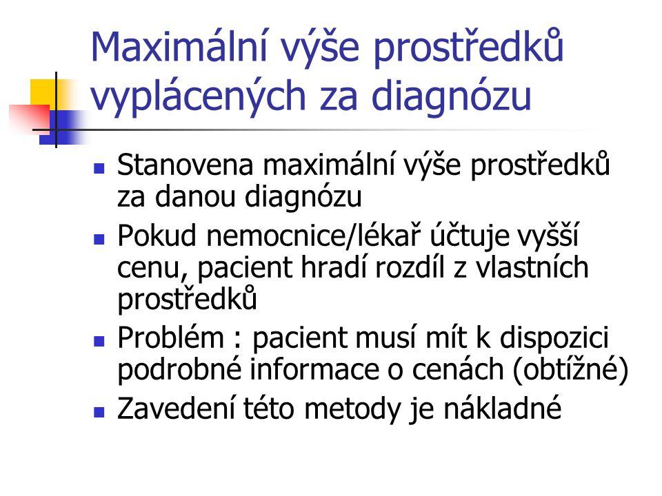Maximální výše prostředků vyplácených za diagnózu Stanovena maximální výše prostředků za danou diagnózu Pokud nemocnice/lékař účtuje vyšší cenu, pacie