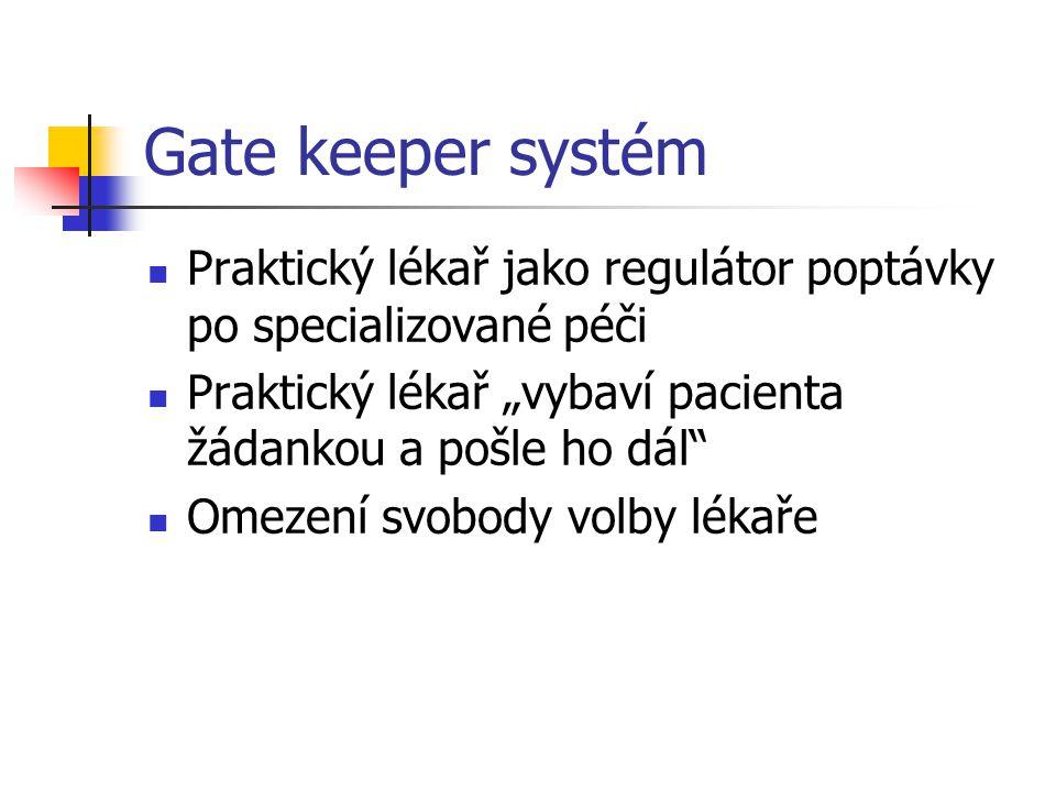 """Gate keeper systém Praktický lékař jako regulátor poptávky po specializované péči Praktický lékař """"vybaví pacienta žádankou a pošle ho dál"""" Omezení sv"""