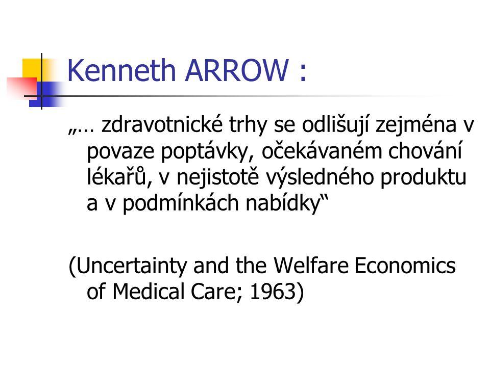 """Kenneth ARROW : """"… zdravotnické trhy se odlišují zejména v povaze poptávky, očekávaném chování lékařů, v nejistotě výsledného produktu a v podmínkách"""