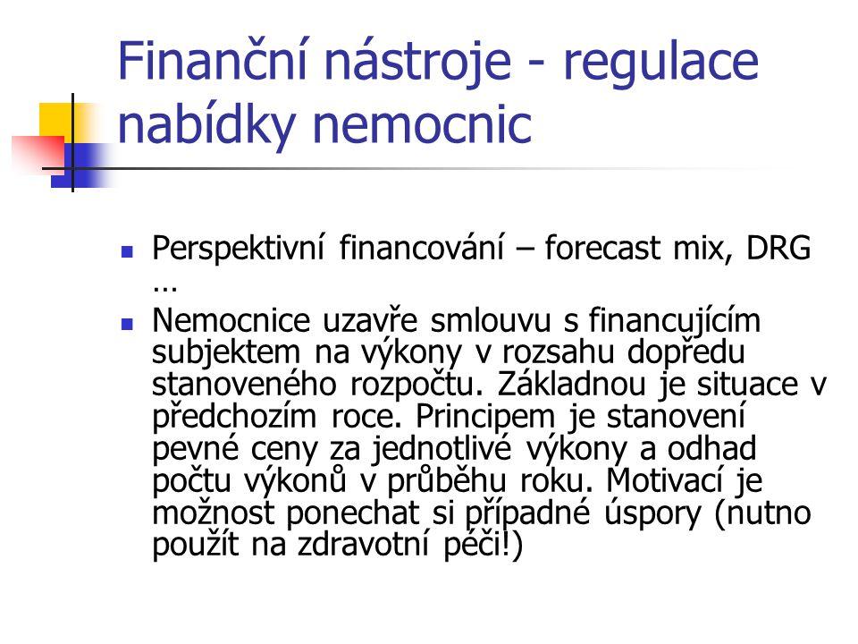 Finanční nástroje - regulace nabídky nemocnic Perspektivní financování – forecast mix, DRG … Nemocnice uzavře smlouvu s financujícím subjektem na výko