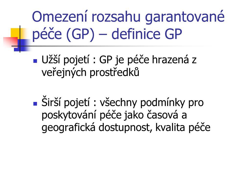 Omezení rozsahu garantované péče (GP) – definice GP Užší pojetí : GP je péče hrazená z veřejných prostředků Širší pojetí : všechny podmínky pro poskyt