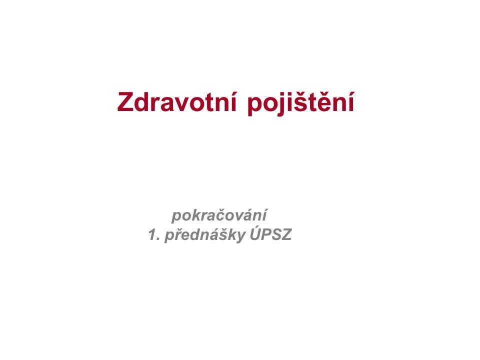 ZDRAVOTNÍ POJIŠTĚNÍ Zdravotní pojišťovny Všeobecná zdravotní pojišťovna České republiky (zvláštní postavení) oborové, resortní, podnikové a další pojišťovny Pojištěnec má právo na výběr zdravotní pojišťovny.