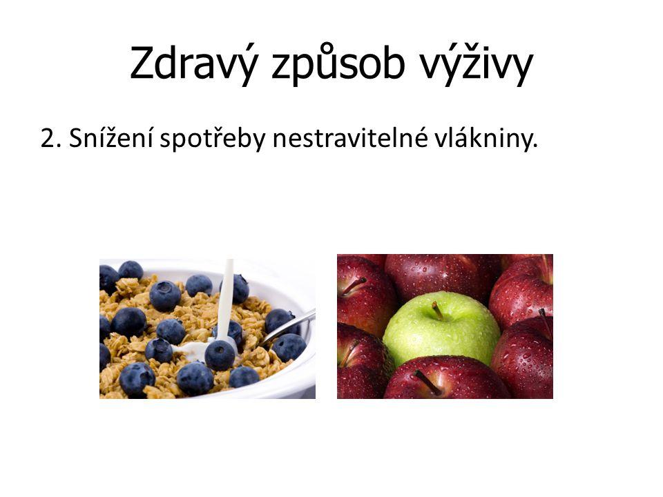 Zdravý způsob výživy 2. Snížení spotřeby nestravitelné vlákniny.