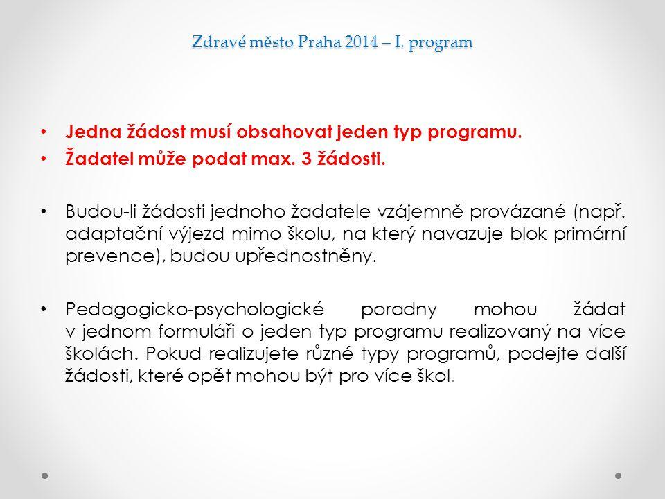 Zdravé město Praha 2014 – I. program Jedna žádost musí obsahovat jeden typ programu. Žadatel může podat max. 3 žádosti. Budou-li žádosti jednoho žadat