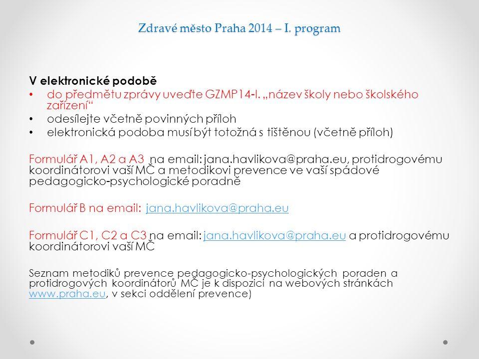 """Zdravé město Praha 2014 – I. program V elektronické podobě do předmětu zprávy uveďte GZMP14-I. """"název školy nebo školského zařízení"""" odesílejte včetně"""