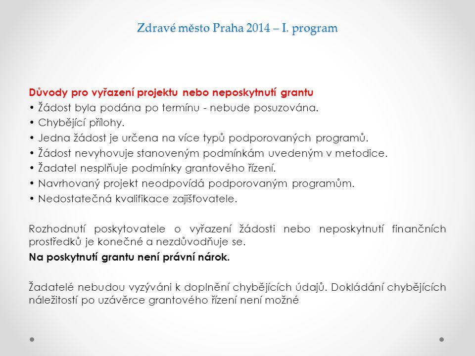 Zdravé město Praha 2014 – I. program Důvody pro vyřazení projektu nebo neposkytnutí grantu Žádost byla podána po termínu - nebude posuzována. Chybějíc