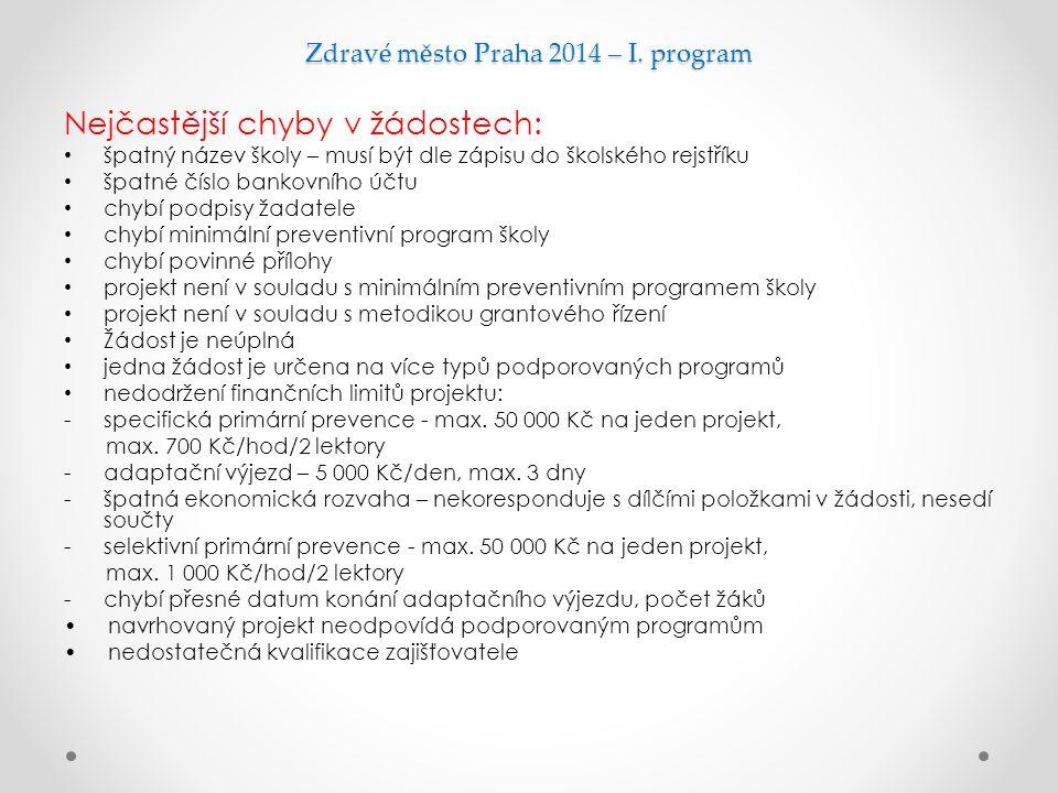 Zdravé město Praha 2014 – I. program Nejčastější chyby v žádostech: špatný název školy – musí být dle zápisu do školského rejstříku špatné číslo banko