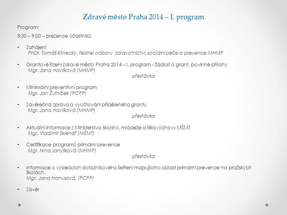 Zdravé město Praha 2014 – I. program Program: 8:30 – 9:00 – prezence účastníků Zahájení PhDr. Tomáš Klinecký, ředitel odboru zdravotnictví, sociální p