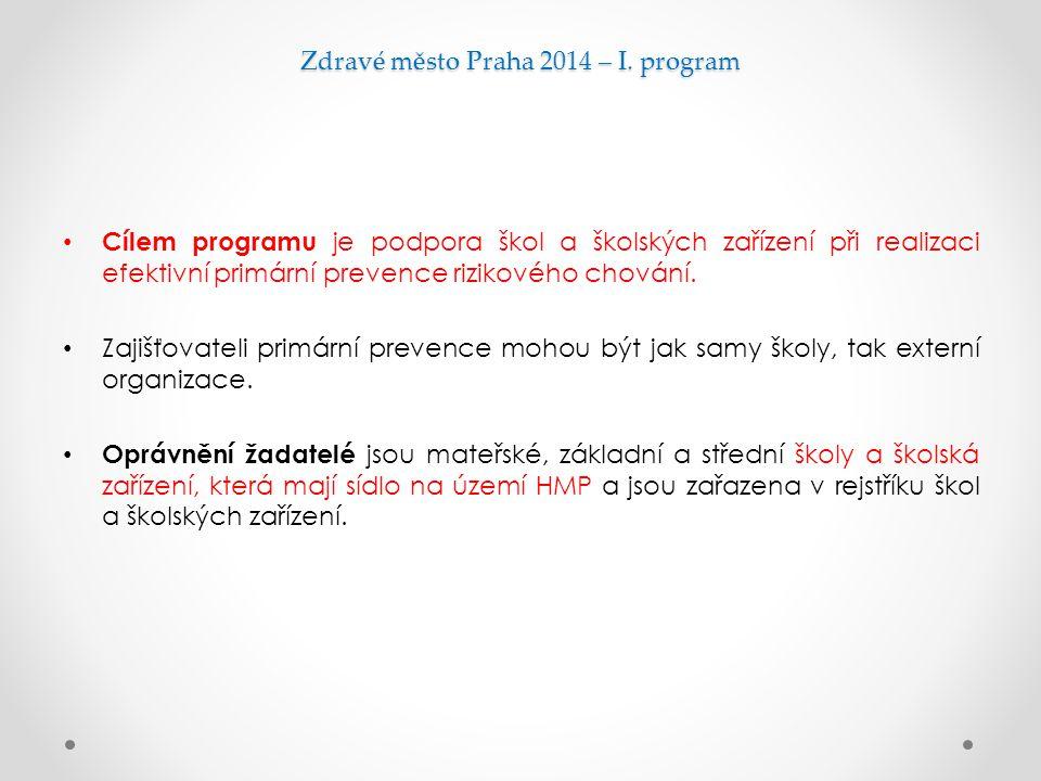 Zdravé město Praha 2014 – I. program Cílem programu je podpora škol a školských zařízení při realizaci efektivní primární prevence rizikového chování.