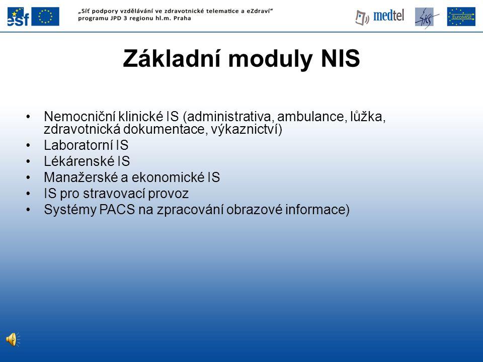 Základní moduly NIS Nemocniční klinické IS (administrativa, ambulance, lůžka, zdravotnická dokumentace, výkaznictví) Laboratorní IS Lékárenské IS Mana