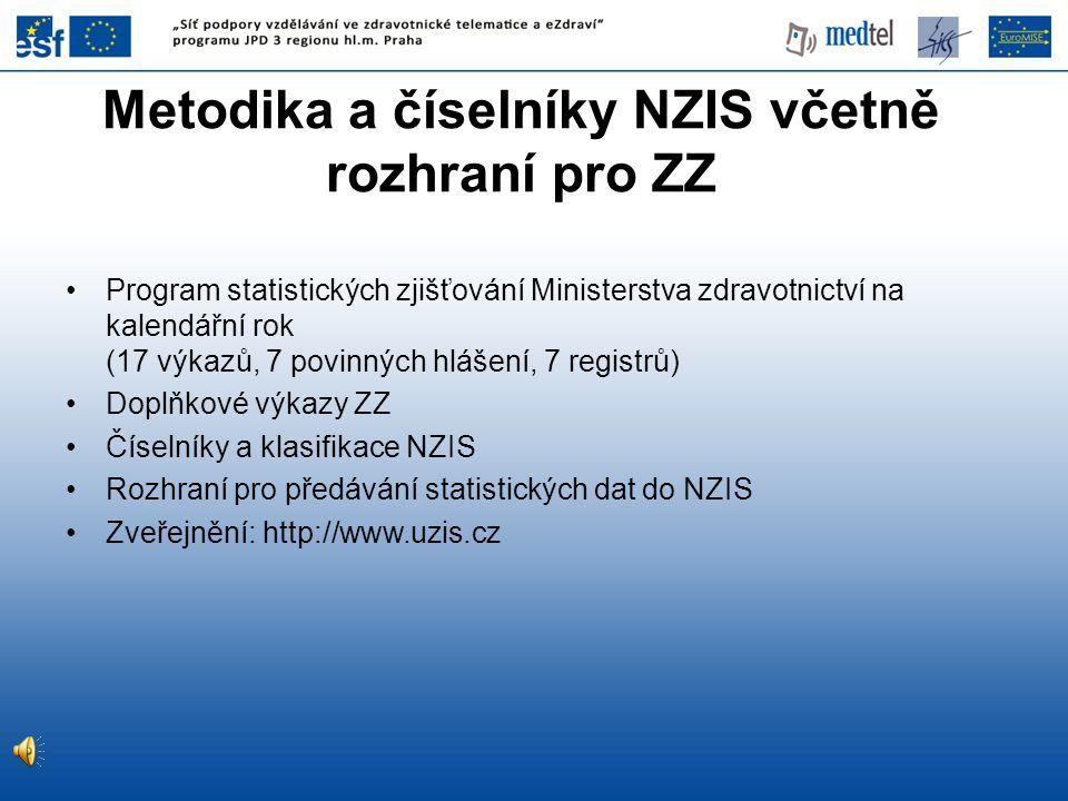Metodika a číselníky NZIS včetně rozhraní pro ZZ Program statistických zjišťování Ministerstva zdravotnictví na kalendářní rok (17 výkazů, 7 povinných hlášení, 7 registrů) Doplňkové výkazy ZZ Číselníky a klasifikace NZIS Rozhraní pro předávání statistických dat do NZIS Zveřejnění: http://www.uzis.cz