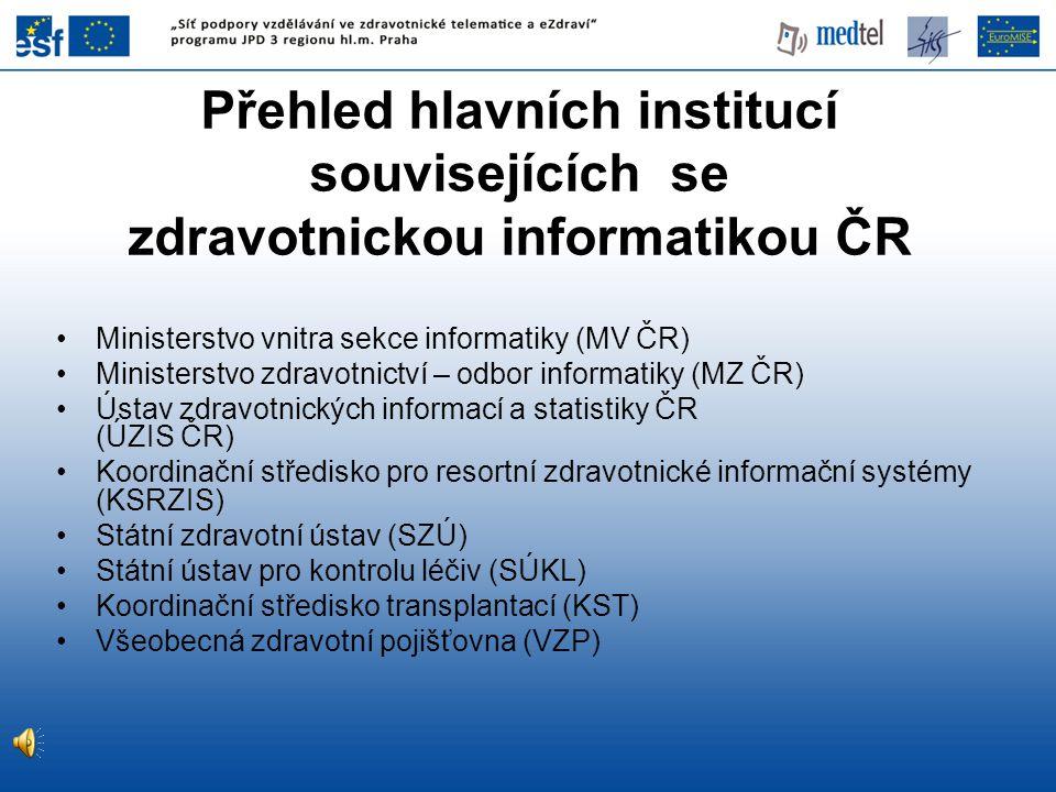Přehled hlavních institucí souvisejících se zdravotnickou informatikou ČR Ministerstvo vnitra sekce informatiky (MV ČR) Ministerstvo zdravotnictví – o