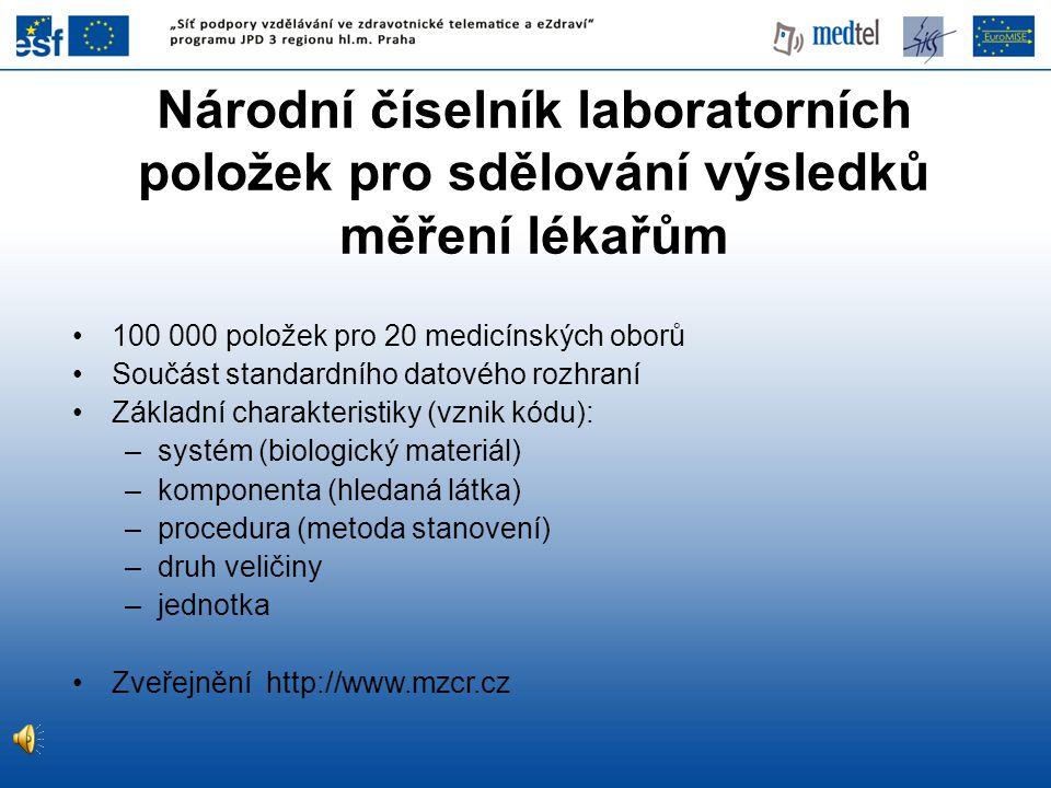 Národní číselník laboratorních položek pro sdělování výsledků měření lékařům 100 000 položek pro 20 medicínských oborů Součást standardního datového rozhraní Základní charakteristiky (vznik kódu): –systém (biologický materiál) –komponenta (hledaná látka) –procedura (metoda stanovení) –druh veličiny –jednotka Zveřejnění http://www.mzcr.cz
