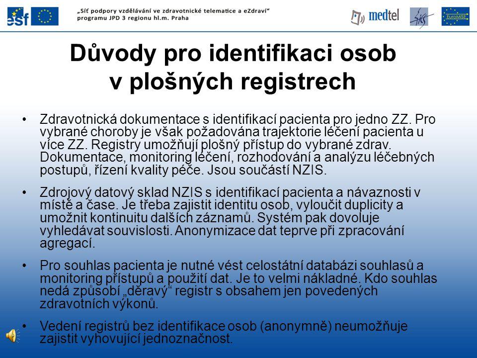 Důvody pro identifikaci osob v plošných registrech Zdravotnická dokumentace s identifikací pacienta pro jedno ZZ. Pro vybrané choroby je však požadová
