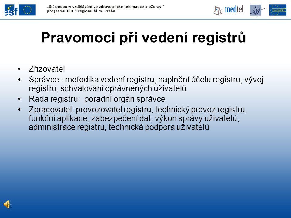 Pravomoci při vedení registrů Zřizovatel Správce : metodika vedení registru, naplnění účelu registru, vývoj registru, schvalování oprávněných uživatelů Rada registru: poradní orgán správce Zpracovatel: provozovatel registru, technický provoz registru, funkční aplikace, zabezpečení dat, výkon správy uživatelů, administrace registru, technická podpora uživatelů