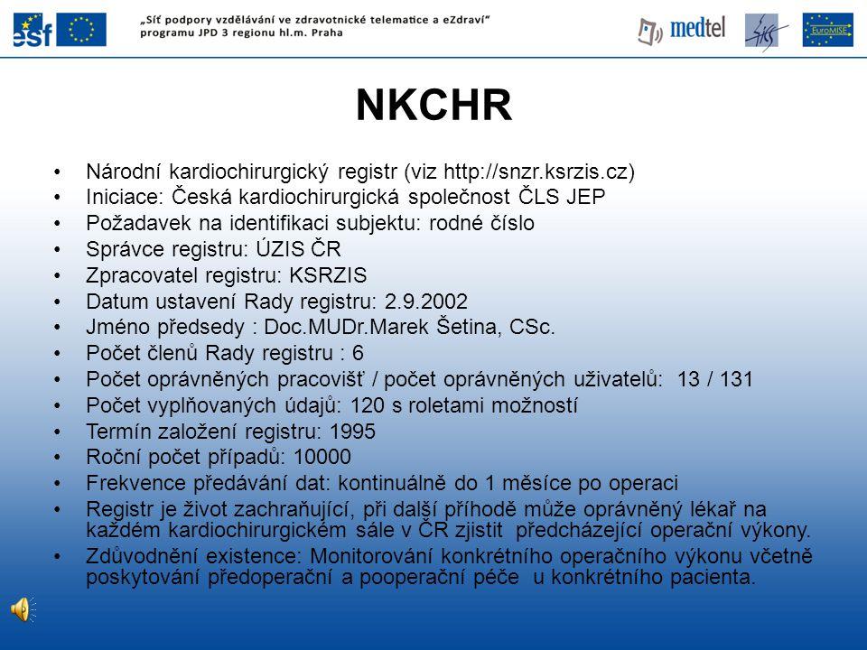 NKCHR Národní kardiochirurgický registr (viz http://snzr.ksrzis.cz) Iniciace: Česká kardiochirurgická společnost ČLS JEP Požadavek na identifikaci sub