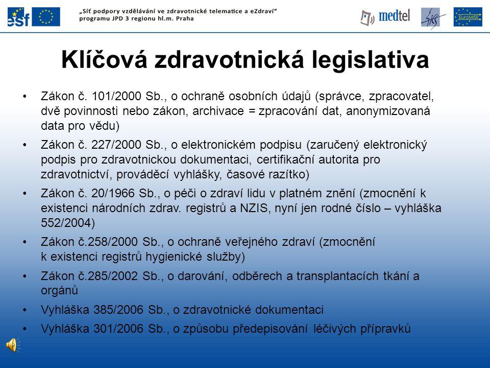 Klíčová zdravotnická legislativa Zákon č. 101/2000 Sb., o ochraně osobních údajů (správce, zpracovatel, dvě povinnosti nebo zákon, archivace = zpracov