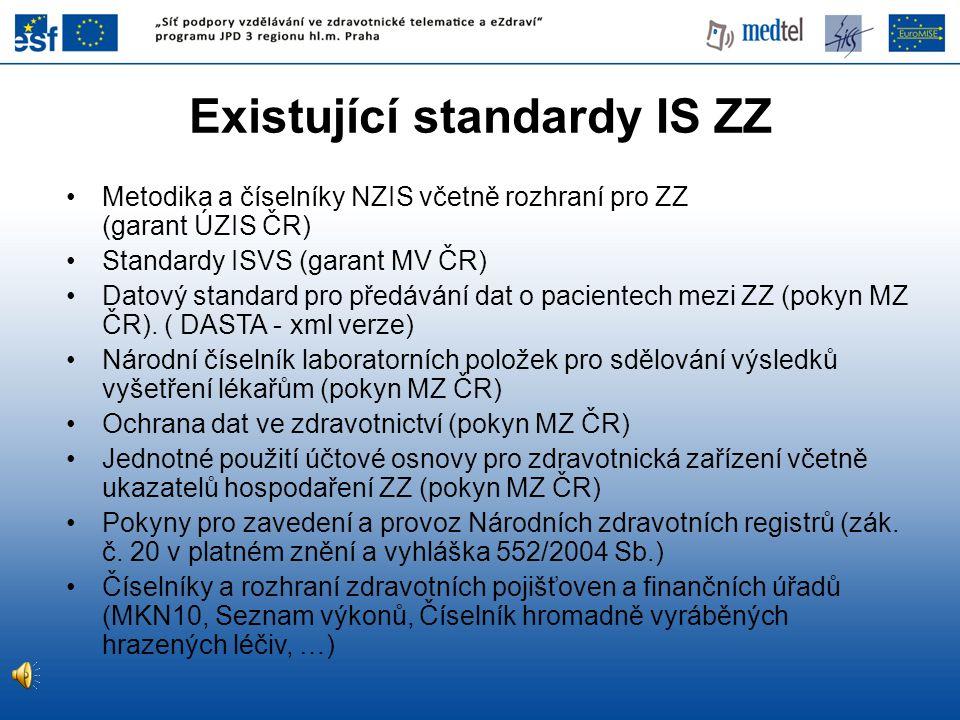 Existující standardy IS ZZ Metodika a číselníky NZIS včetně rozhraní pro ZZ (garant ÚZIS ČR) Standardy ISVS (garant MV ČR) Datový standard pro předává