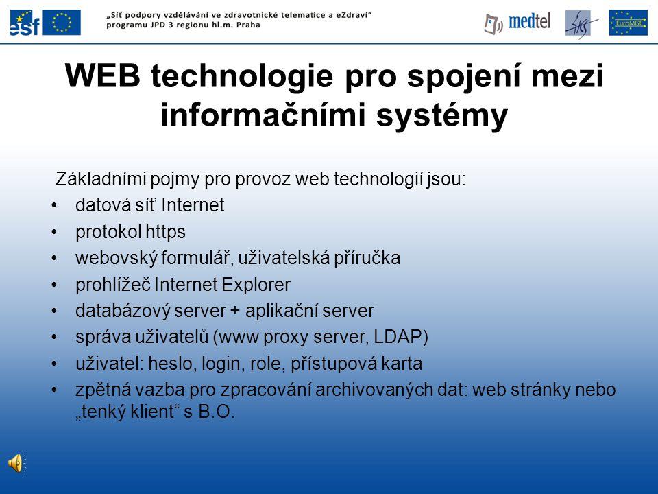 WEB technologie pro spojení mezi informačními systémy Základními pojmy pro provoz web technologií jsou: datová síť Internet protokol https webovský fo