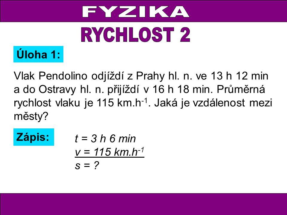 Vlak Pendolino odjíždí z Prahy hl. n. ve 13 h 12 min a do Ostravy hl. n. přijíždí v 16 h 18 min. Průměrná rychlost vlaku je 115 km.h -1. Jaká je vzdál