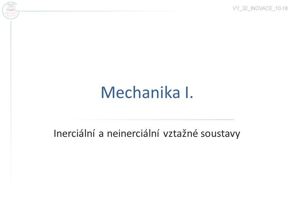 Mechanika I. Inerciální a neinerciální vztažné soustavy VY_32_INOVACE_10-18