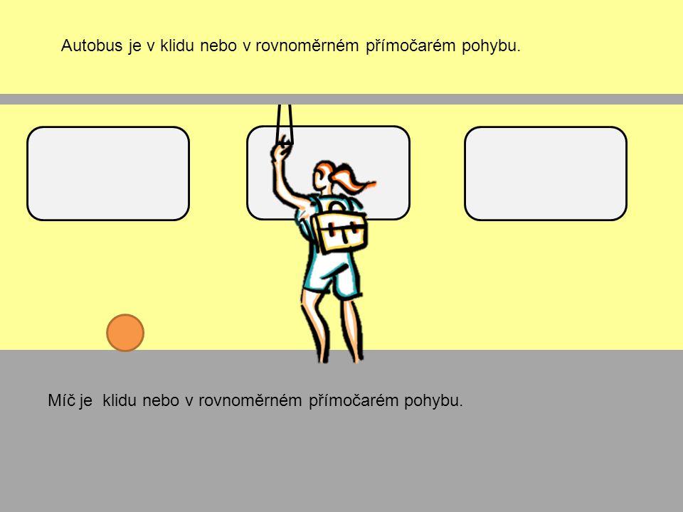 Autobus je v klidu nebo v rovnoměrném přímočarém pohybu. Míč je klidu nebo v rovnoměrném přímočarém pohybu.