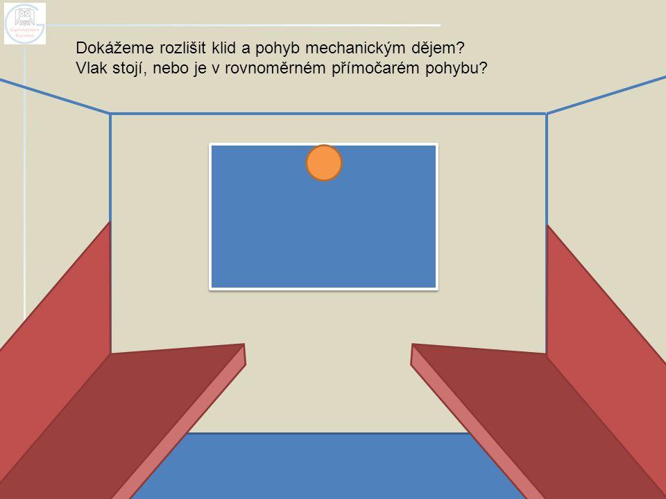 Dokážeme rozlišit klid a pohyb mechanickým dějem? Vlak stojí, nebo je v rovnoměrném přímočarém pohybu?