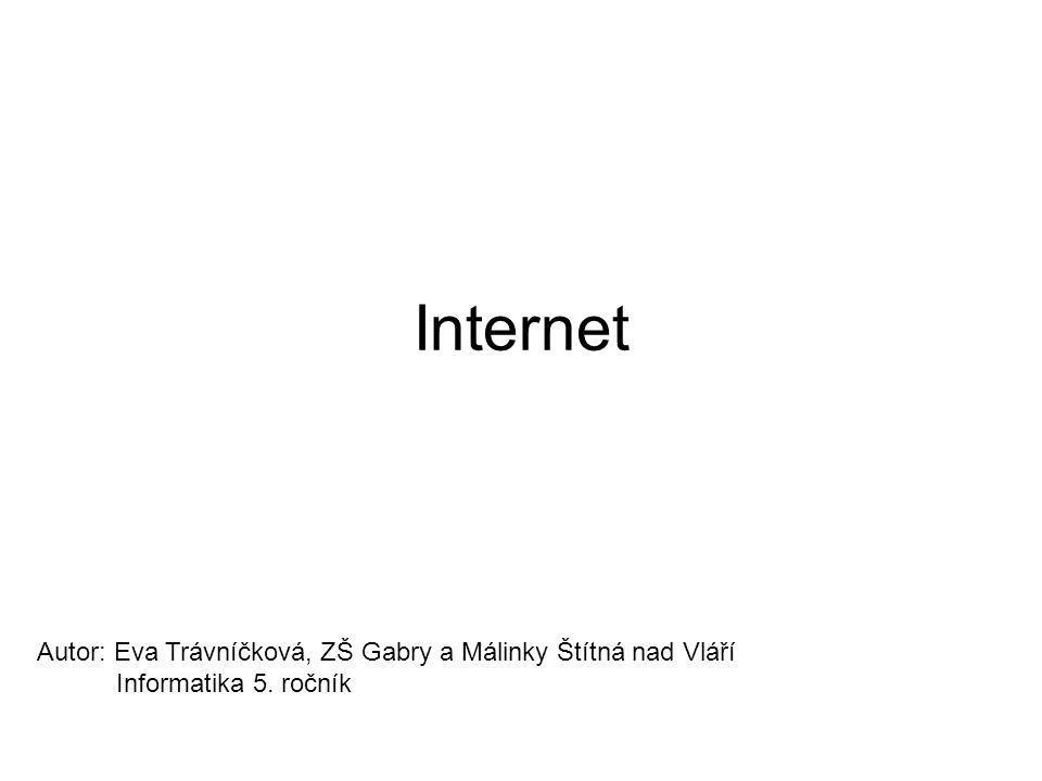 Internet Autor: Eva Trávníčková, ZŠ Gabry a Málinky Štítná nad Vláří Informatika 5. ročník