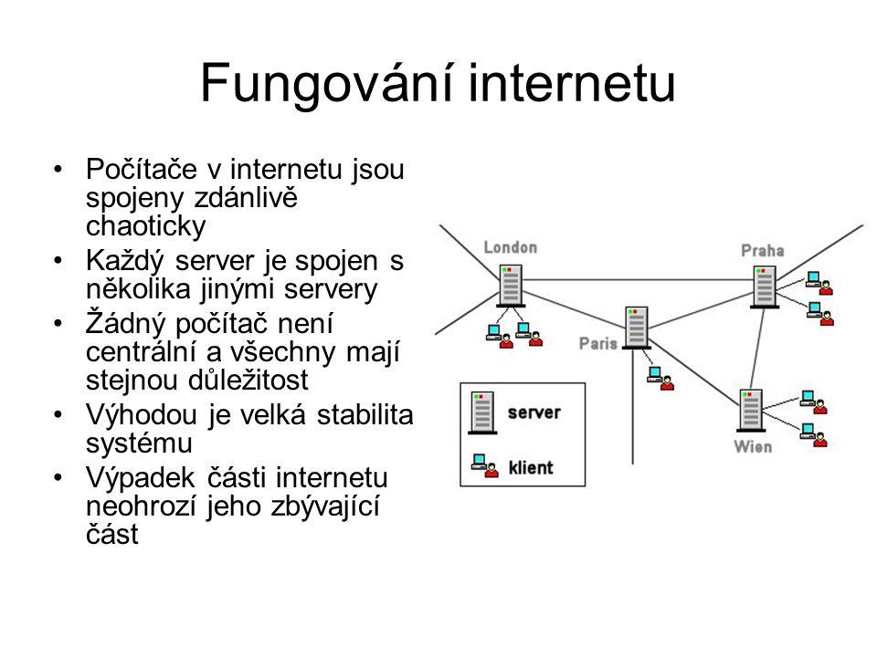 Fungování internetu Počítače v internetu jsou spojeny zdánlivě chaoticky Každý server je spojen s několika jinými servery Žádný počítač není centrální