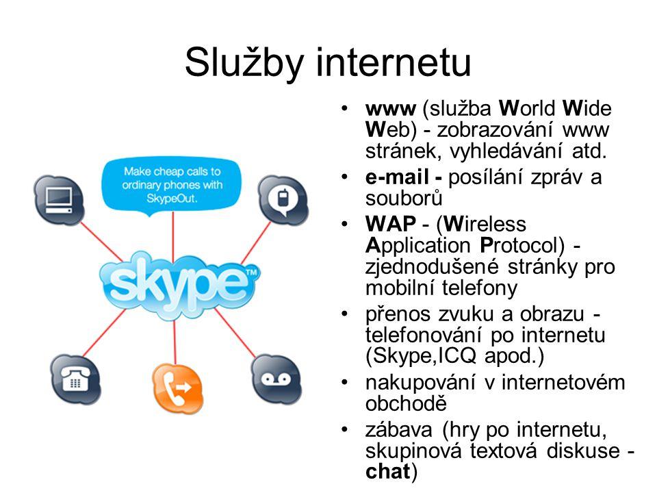 Služby internetu www (služba World Wide Web) - zobrazování www stránek, vyhledávání atd. e-mail - posílání zpráv a souborů WAP - (Wireless Application
