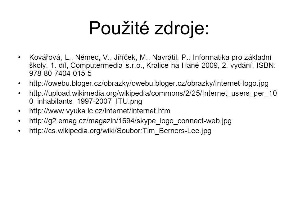 Použité zdroje: Kovářová, L., Němec, V., Jiříček, M., Navrátil, P.: Informatika pro základní školy, 1. díl, Computermedia s.r.o., Kralice na Hané 2009