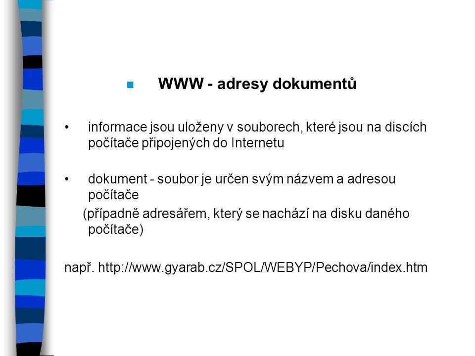 n WWW - adresy dokumentů informace jsou uloženy v souborech, které jsou na discích počítače připojených do Internetu dokument - soubor je určen svým názvem a adresou počítače (případně adresářem, který se nachází na disku daného počítače) např.