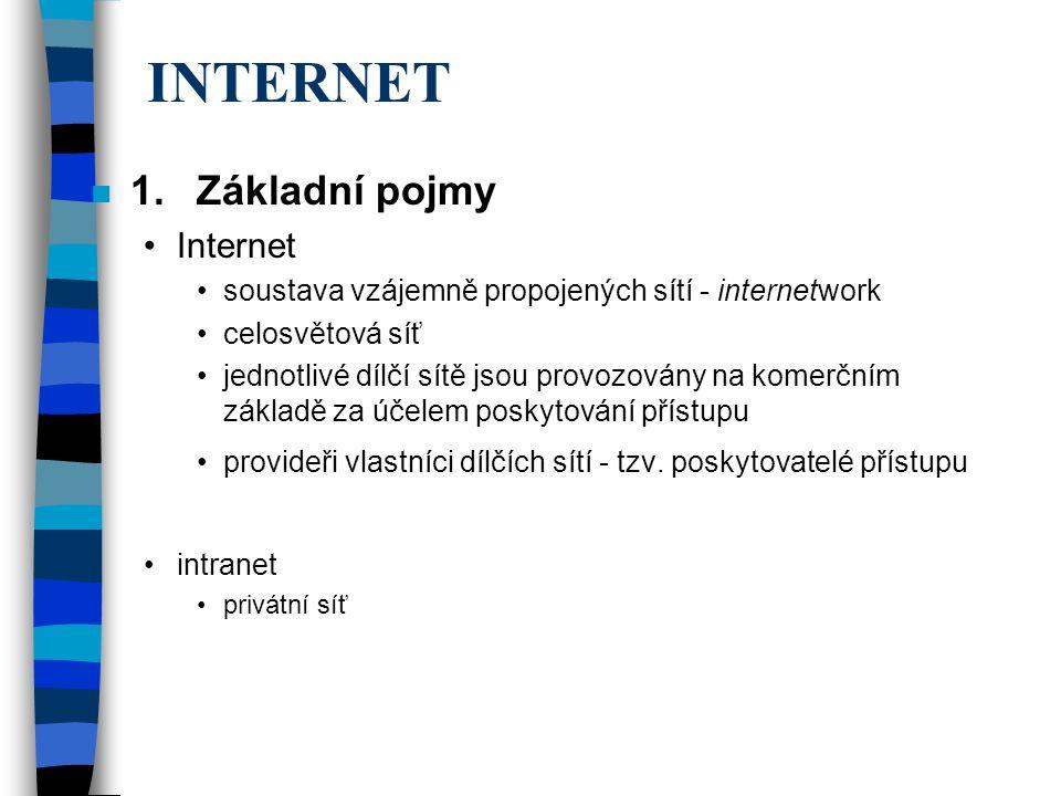 n 1.Základní pojmy Internet soustava vzájemně propojených sítí - internetwork celosvětová síť jednotlivé dílčí sítě jsou provozovány na komerčním základě za účelem poskytování přístupu provideři vlastníci dílčích sítí - tzv.