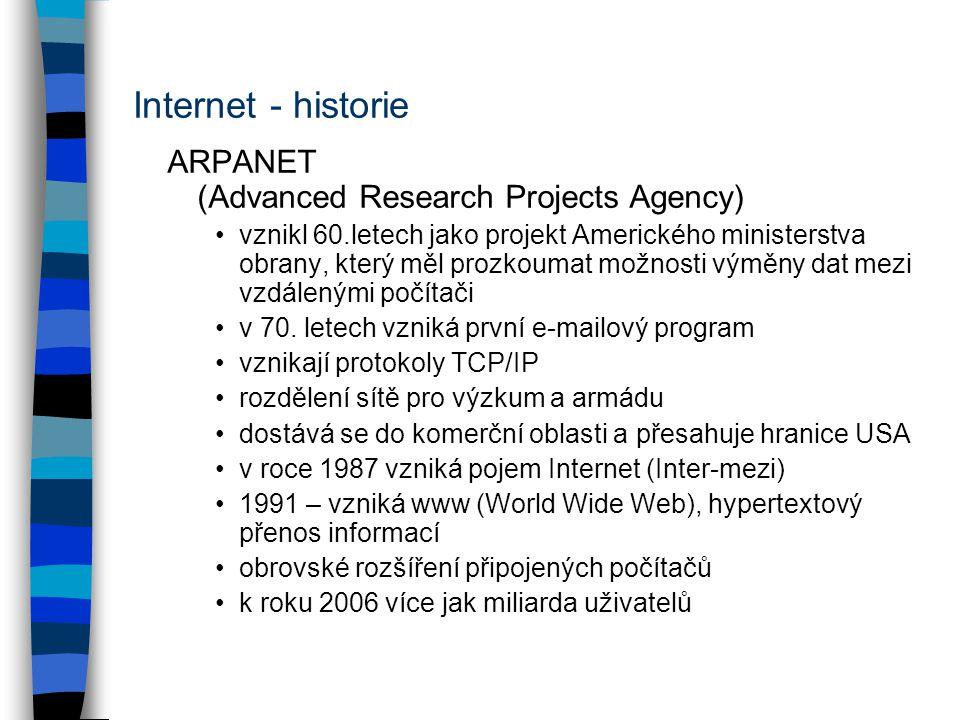Internet - historie ARPANET (Advanced Research Projects Agency) vznikl 60.letech jako projekt Amerického ministerstva obrany, který měl prozkoumat možnosti výměny dat mezi vzdálenými počítači v 70.