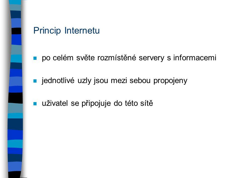 Princip Internetu n po celém světe rozmístěné servery s informacemi n jednotlivé uzly jsou mezi sebou propojeny n uživatel se připojuje do této sítě