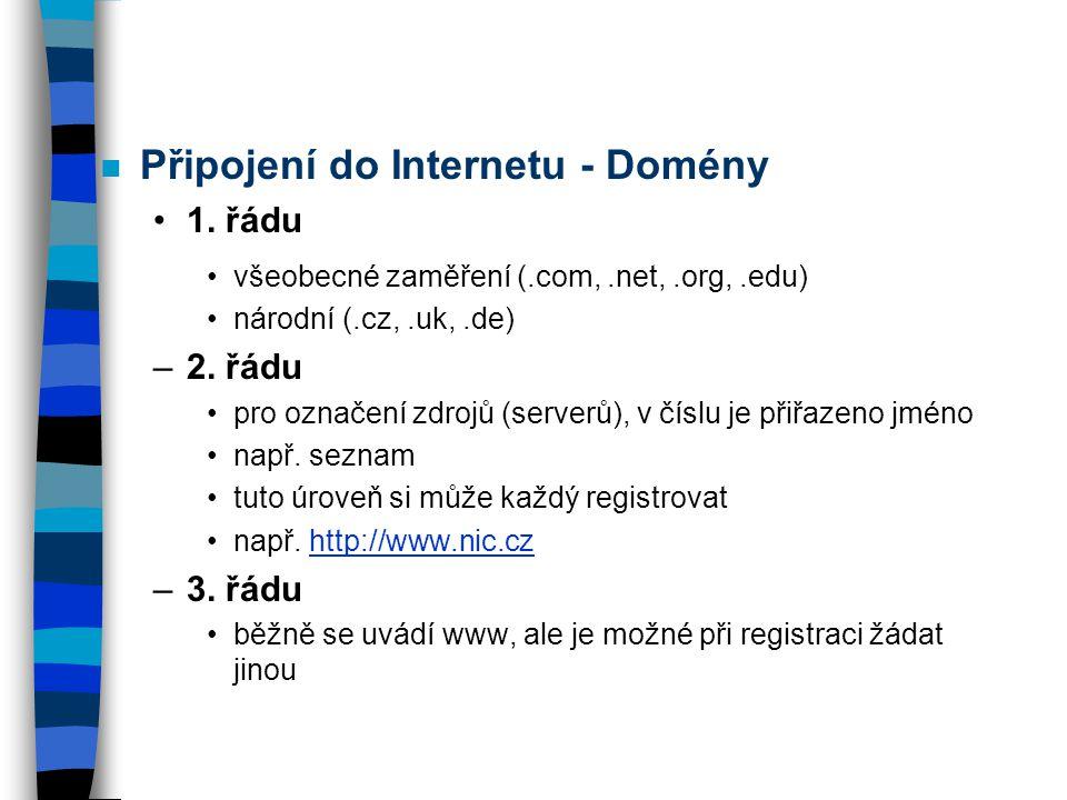 n Připojení do Internetu - Domény 1.