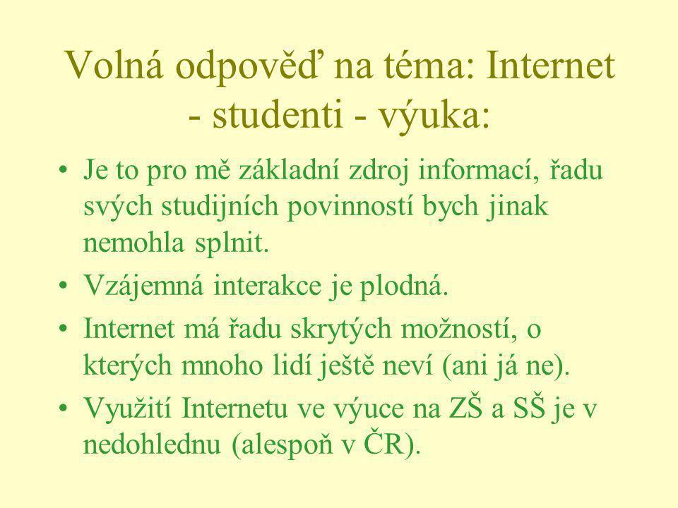 Volná odpověď na téma: Internet - studenti - výuka: Je to pro mě základní zdroj informací, řadu svých studijních povinností bych jinak nemohla splnit.