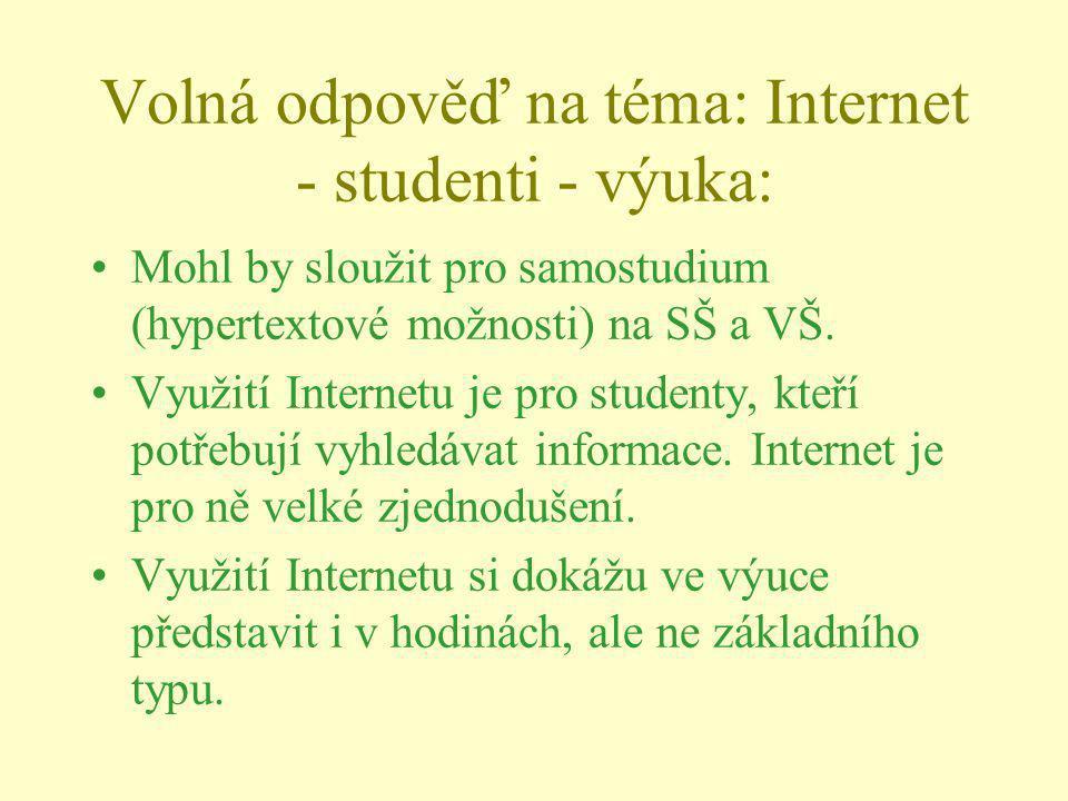 Volná odpověď na téma: Internet - studenti - výuka: Mohl by sloužit pro samostudium (hypertextové možnosti) na SŠ a VŠ. Využití Internetu je pro stude