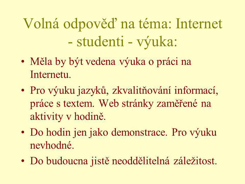 Volná odpověď na téma: Internet - studenti - výuka: Měla by být vedena výuka o práci na Internetu. Pro výuku jazyků, zkvalitňování informací, práce s