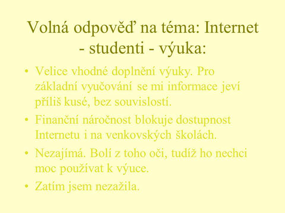 Volná odpověď na téma: Internet - studenti - výuka: Velice vhodné doplnění výuky. Pro základní vyučování se mi informace jeví příliš kusé, bez souvisl