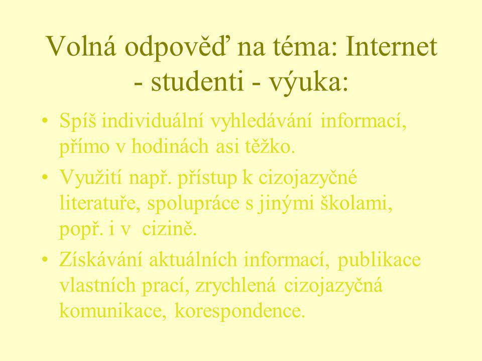 Volná odpověď na téma: Internet - studenti - výuka: Spíš individuální vyhledávání informací, přímo v hodinách asi těžko. Využití např. přístup k cizoj
