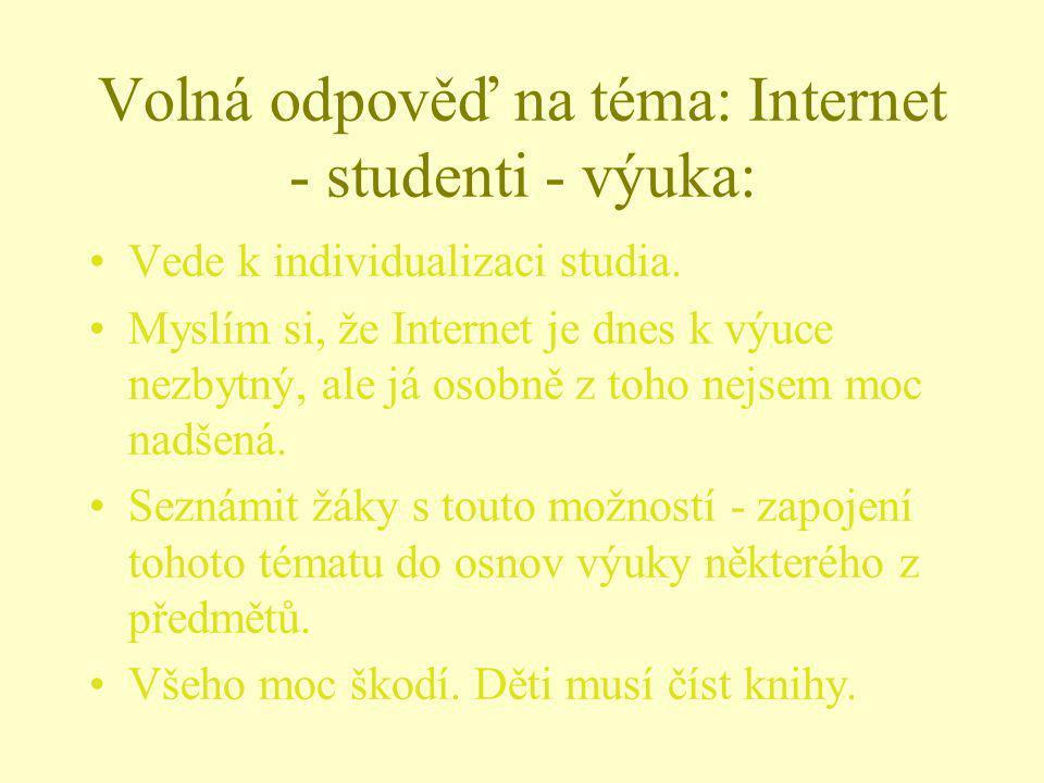 Volná odpověď na téma: Internet - studenti - výuka: Vede k individualizaci studia. Myslím si, že Internet je dnes k výuce nezbytný, ale já osobně z to