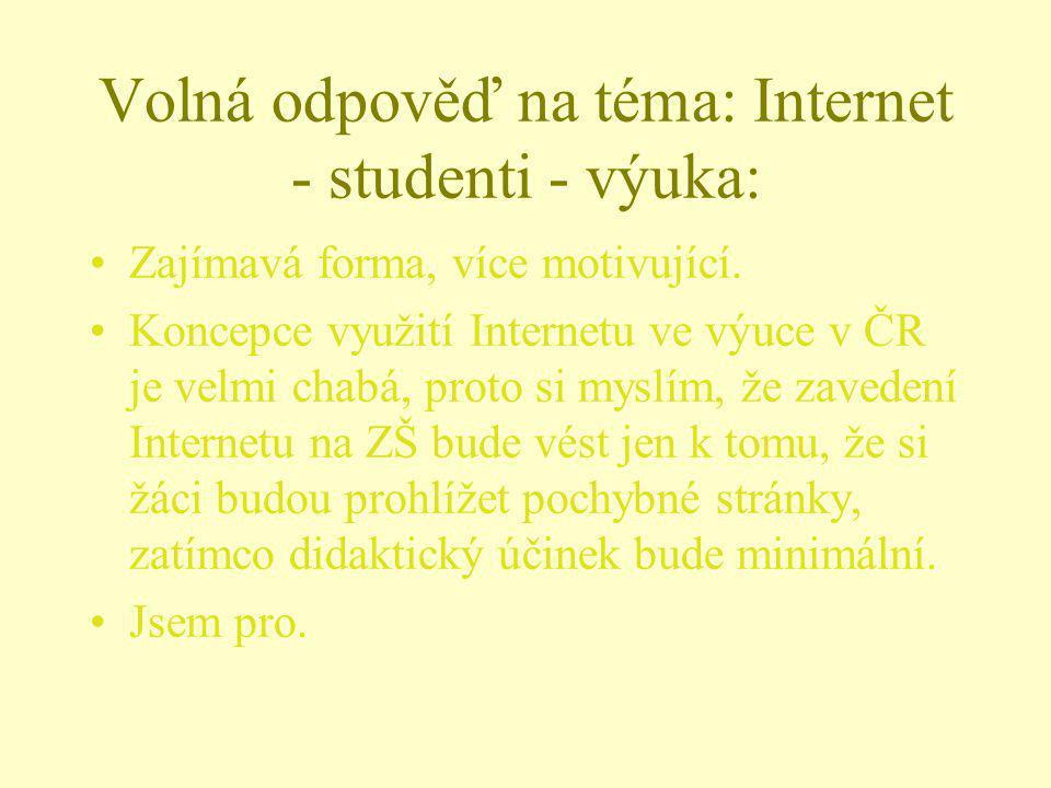 Volná odpověď na téma: Internet - studenti - výuka: Zajímavá forma, více motivující. Koncepce využití Internetu ve výuce v ČR je velmi chabá, proto si