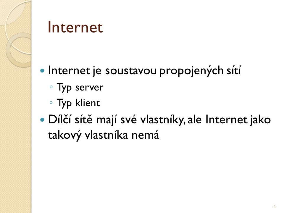 Internet je soustavou propojených sítí ◦ Typ server ◦ Typ klient Dílčí sítě mají své vlastníky, ale Internet jako takový vlastníka nemá 4 Internet